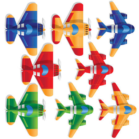 Set of sports airplanes on white background. View from above. Vector illustration.