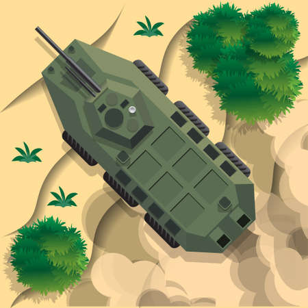 Combat vehicle. View from above. Vector illustration.