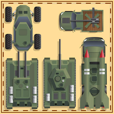 A set of military equipment. View from above. Vector illustration.