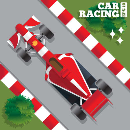 Racing car. View from above. Vector illustration.