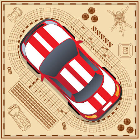 The car on a background of the race track. View from above. Vector illustration. Ilustração