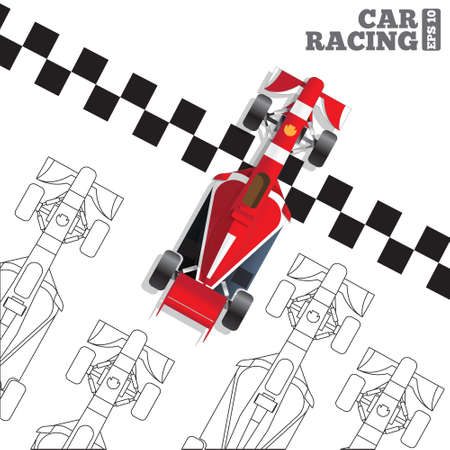 Racing cars at the finish line. View from above. Vector illustration. Ilustração