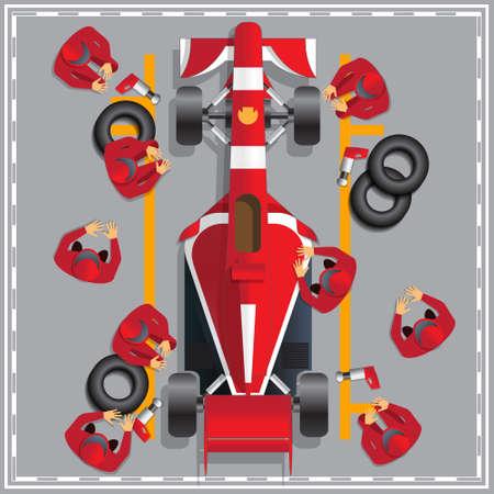 Entretien d'une voiture de course. Vue d'en-haut. Illustration vectorielle.