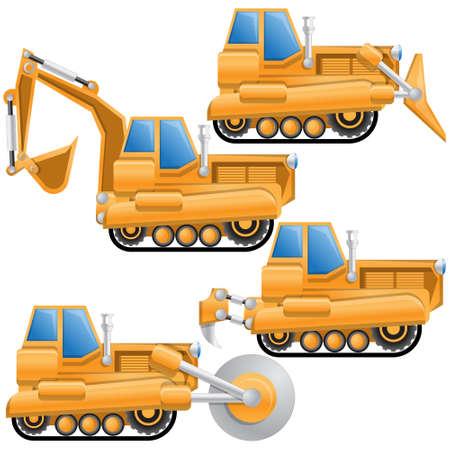 Construction machinery. Side view. Vector illustration. Ilustração