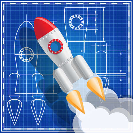 A rocket on the background of the drawing. Vector illustration.