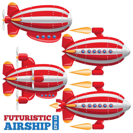 Set of futuristic dirigibles on white background. Vector illustration. Ilustração