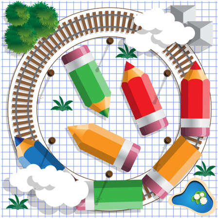 Colored pencils in the form of a train. View from above. Vector illustration.
