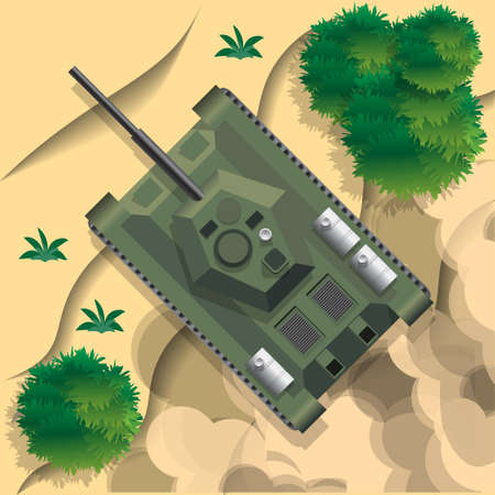 Combat vehicle. Tank View from above. Vector illustration. Illustration