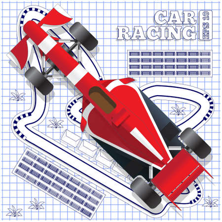 Race car on the background track. View from above. Vector illustration.