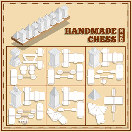 Hand made chess. Vector illustration.