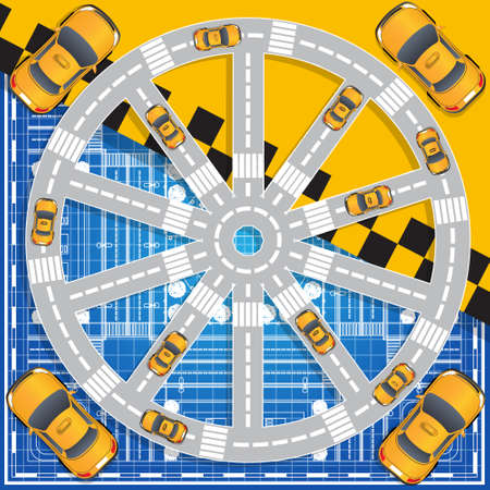 Taxi service. Top view of the car. Vector illustration.
