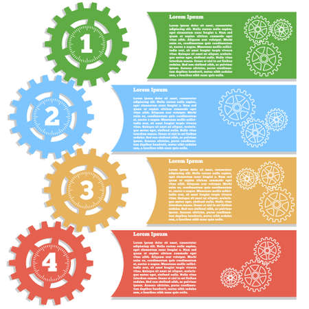 Gears. Isolated on white background. The template for the presentation. Vector illustration.