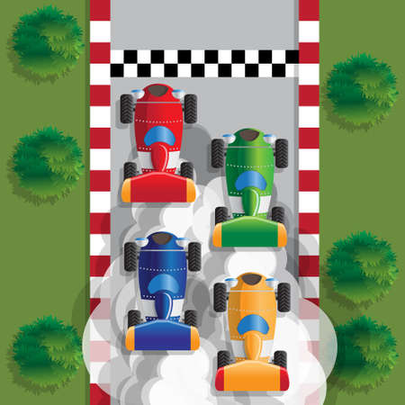 Racing cars. View from above. Vector illustration.