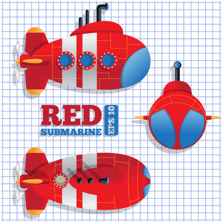 Scheme of a submarine. Vector illustration.