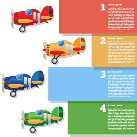 Sports airplanes. Isolated on white background. The template for the presentation. Vector illustration. Illustration