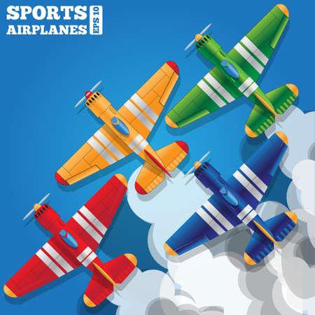 Un groupe d'avions de sport dans le ciel. Vue d'en-haut. Illustration vectorielle. Vecteurs
