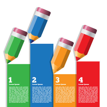 Color pencils. Vector illustration. Business brochure design template.