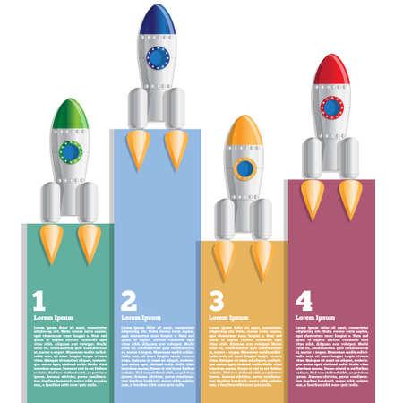 Spaceships Vector illustration. Business brochure design template. Ilustração
