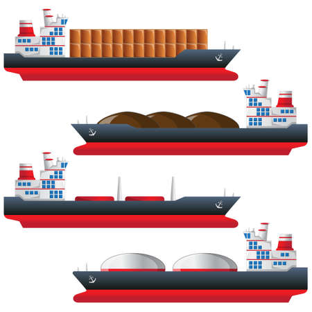 A set of cargo ships. Isolated on white background. Vector illustration. Stock Illustratie