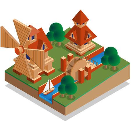 Mills. Isometric. Vector illustration. Иллюстрация