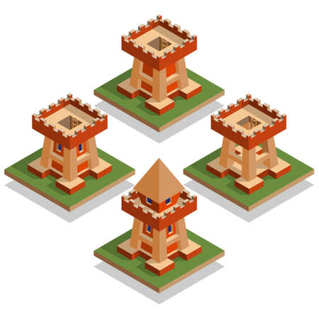 A set of castle towers. Isometric. Vector illustration.