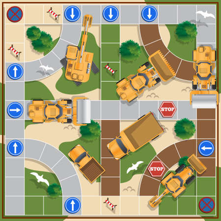 Construction of the road. Board game. View from above. Vector illustration. Ilustração