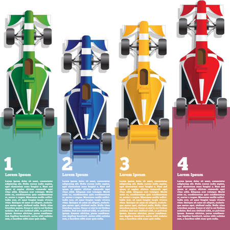 Sports cars. View from above. The template for the presentation. Vector illustration. Ilustração