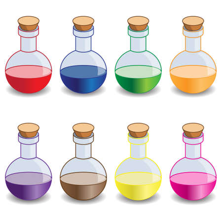 Multicolored flasks on a white background. Vector illustration.