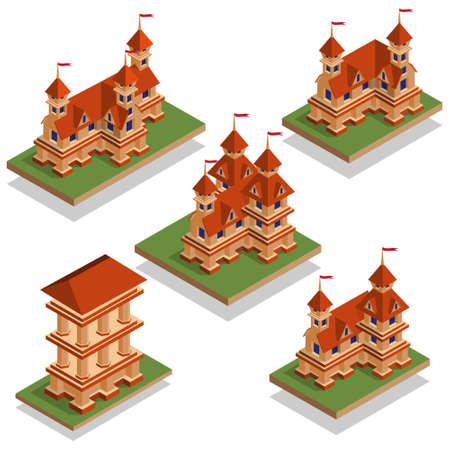 Eine Reihe mittelalterlicher Burgen. Isometrische. Vektor-Illustration. Spieldesign. Vektorgrafik
