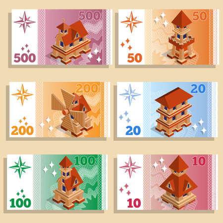 A set of game money with the image of architectural structures.