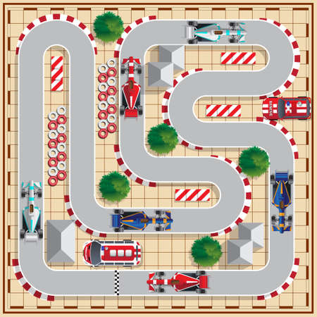 Speedway with cars. View from above. Vector illustration.