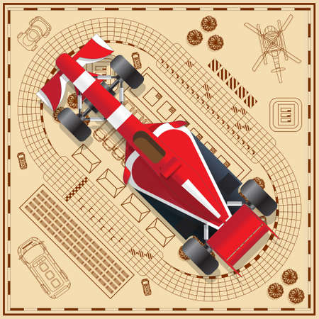 Race car on the background tracks. View from above. Vector illustration.