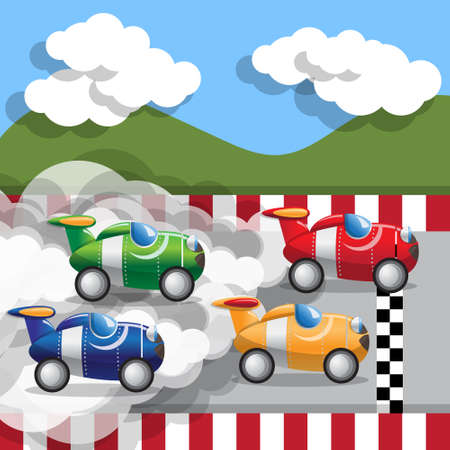 Racing cars. Side view. Vector illustration.