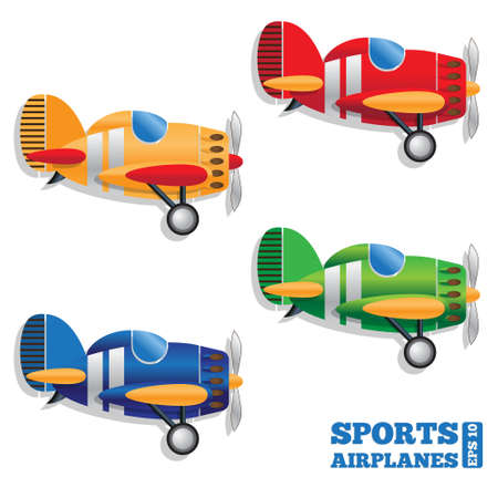 Set of sports airplanes on white background. Side view. Vector illustration. Archivio Fotografico - 137367880
