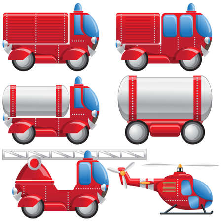 A set of fire equipment. Isolated on white background. Vector illustration.