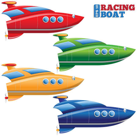 Set of racing boats. Isolated on white background. Vector illustration.