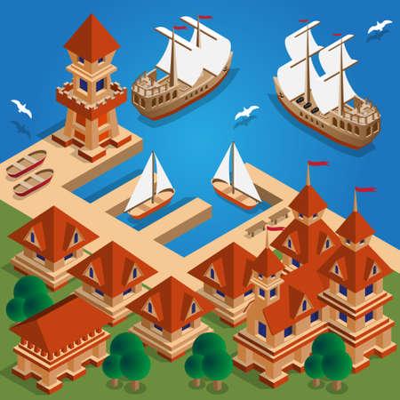 Medieval port. Isometric. Vector illustration. Иллюстрация