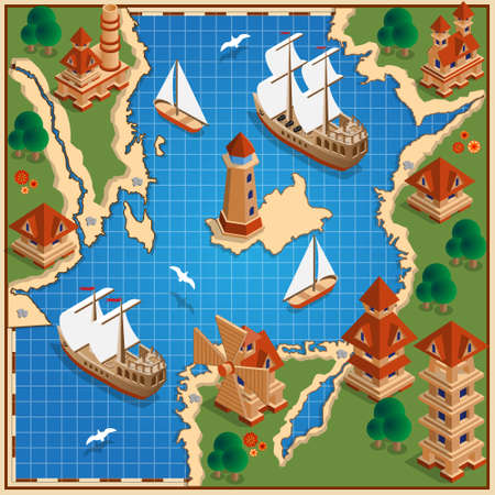 The old map. Isometric. Vector illustration.  イラスト・ベクター素材