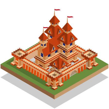 Medieval castle. Isometric. Vector illustration.