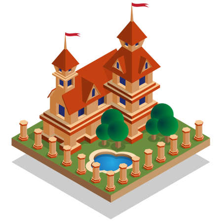 Schloss isometrisch. Isoliert auf weißem Hintergrund. Vektor-Illustration.