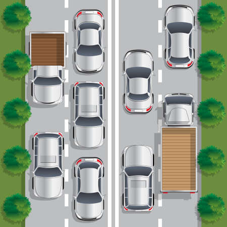 Road traffic. View from above. Vector illustration. Illustration