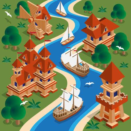 Medieval landscape. Isometry Vector illustration.
