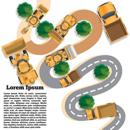 Repair of a winding road. View from above. Vector illustration. The template for the presentation. 向量圖像