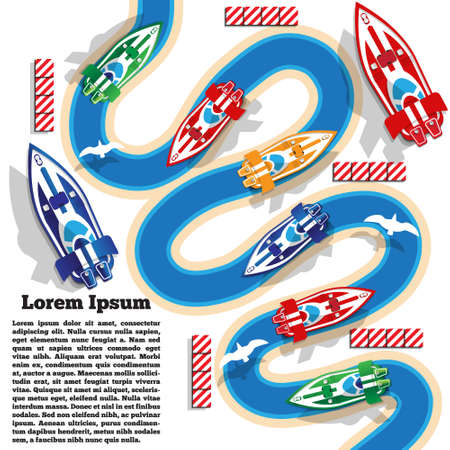 Sports boats on a winding river. The template for the presentation. Vector illustration. 向量圖像