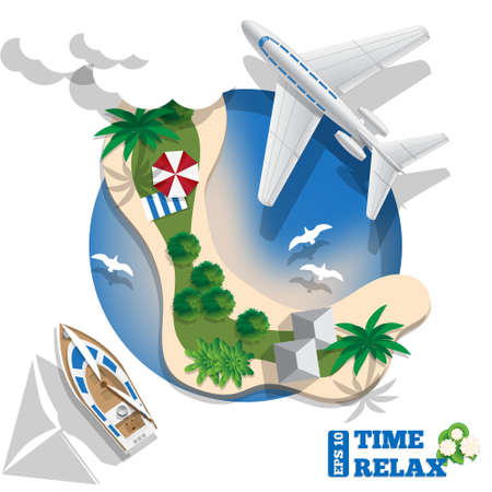 Tropical island. View from above. Vector illustration.