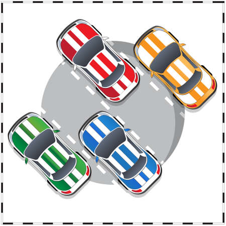 Group of sports cars. View from above. Vector illustration.