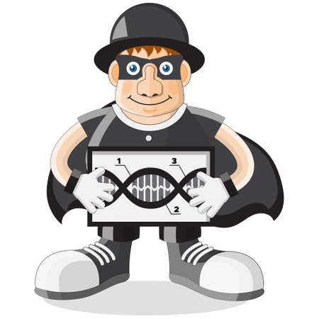 The secret agent is holding a DNA molecule in his hands. Isolated on white background. Vector illustration.