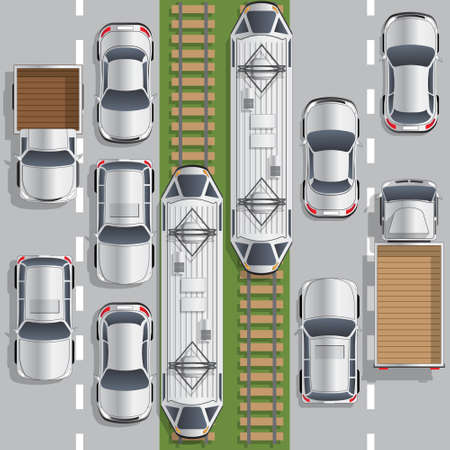 Road traffic. Trams. View from above. Vector illustration.