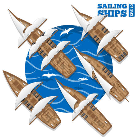 Sailing ships. View from above. Vector illustration. Illustration