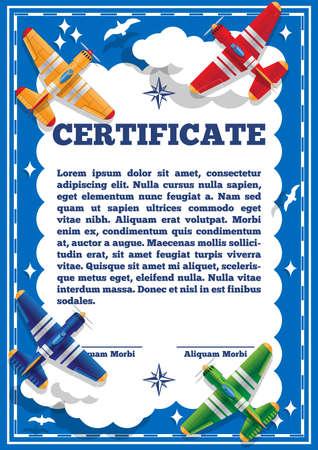 Children's certificate for aviation theme. Vector illustration.